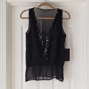 Love Stitch Sheer Black Sequined Sleeveless Blouse